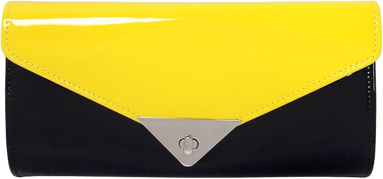 JNB Faux Patent Leather color Block Clutch