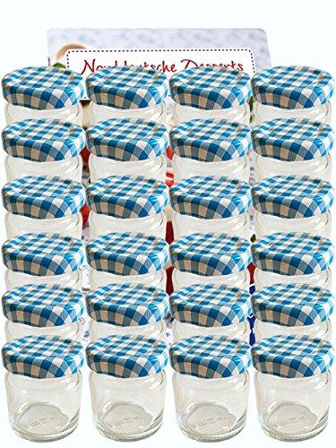 100-delige set mini-glazen 53 ml dekselkleur blauw geruit To 43 incl. 100 etiketten om te beschrijven, ronde potten, wit jampotten, inmaakpotten honing, inmaakpotten, portiepotten