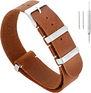High-end Men's Concise Vintage Tanned Leather Watch Strap Replacement for Men