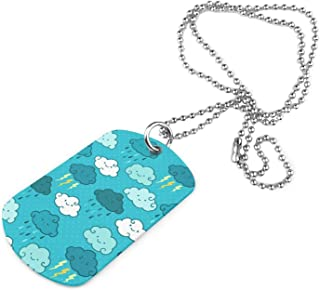 Lighting Rain Clouds Pattern Theme Military Necklace Keychain Neck Pendant Clothes Accessories Pet Tag