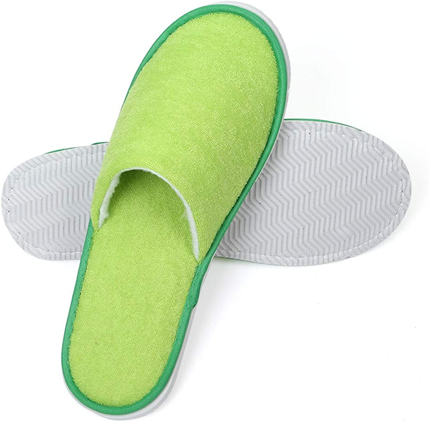 Slippers Disposable Closed Toe Slippers Adults' Terry Cloth Thick Non-Slip Hotel Slippers for Women and Men,Green,20pair