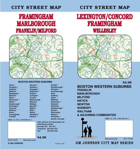 Lexington MA / Concord / Framingham Street Map
