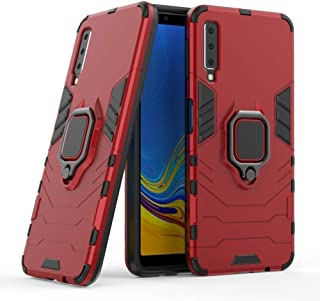 Compatible with Galaxy A7 (2018) Case, Metal Ring Grip Kickstand Shockproof Hard Bumper (Works with Magnetic Car Mount) Du...