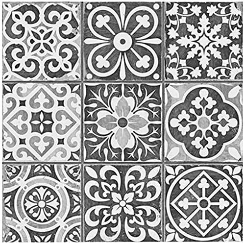 Pegatina, Etiquetas de pared, Decoración de la pared, 20pcs Tile Pegatinas de pared Calcomanías para la cocina Blanco y gris Geométrico Mosaico Mosaico Traslados Pegatinas Auto adhesivo Impermeable Co