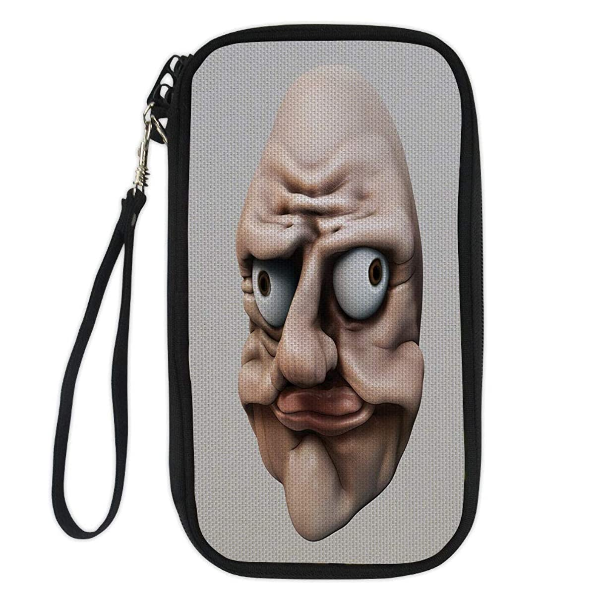 iPrint Humor,Grumpy Internet Troll Face with Trippy Gestures Ugly Post Meme Joke Image Decorative,Egg Shell and Tan for Women Canvas Document Organizer Clutch