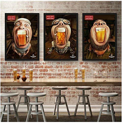 Bar Pub Decoración Pintura Cartel Cerveza Anime Cartel Cuadros de pared para sala de estar Estilo salvaje Lienzo Pintura -50x70cmx3pcs Sin marco