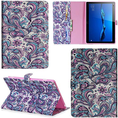 Ooboom Huawei MediaPad M3 Lite 8 8,4 Zoll Hülle 3D Flip PU Leder Schutzhülle Tasche Hülle Smart Cover Ständer mit Kartenfach Integrierten Kartensteckplätzen Magnetverschluss - Pfau Feder