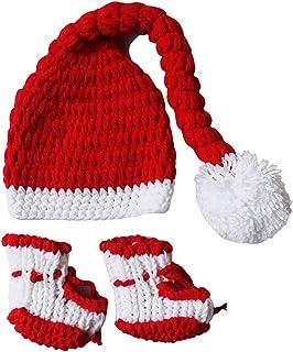 Fascigirl, Baby Photo Prop Set Disfraz De Recién Nacido De Punto Sombrero Navideño Con Calcetines Para Niño