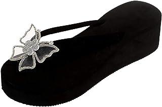 U/D Chaussures Femme Confort Pantoufles à Talon Compensé Pour Femme Chaussures Confortables D'éTé Fleurs Sandales DéContra...