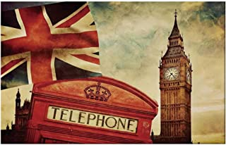 YOLIYANA London Durable Door Mat,Vintage Style Symbols of London with National Flag UK Great Britain Old Clock Tower Decorative for Home Office,17.7