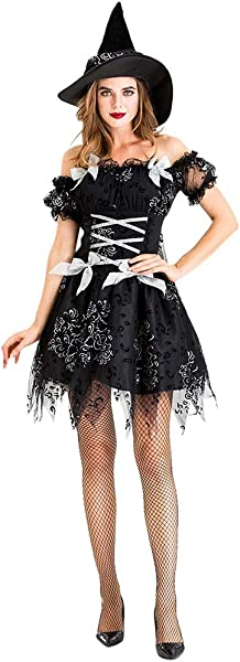 PerfectCOCO Halloween Witch Costume For Women Cosplay Witch Vintage Gothic Festival Mini Dress Masquerade Dress Hat