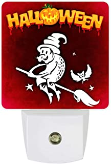 Plug-in Night Lights Funny Flying Witch on a Broom Happy Halloween LED Night Lamp with Auto Dusk-to-Dawn Sensor Warm White Light& Ultra Low Power for Bedroom/Bathroom/Hallway/Kid's Room
