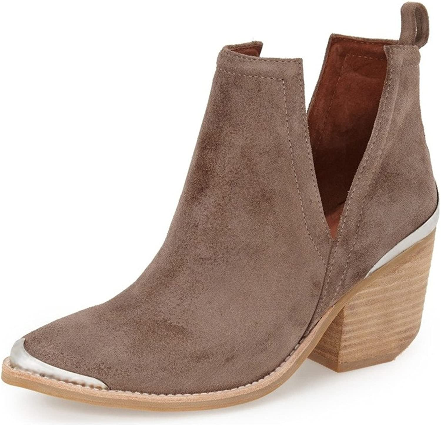 YDN Women Ankle Booties Low Heel Suede Stacked Boots Cut Out shoes with Metal Toe