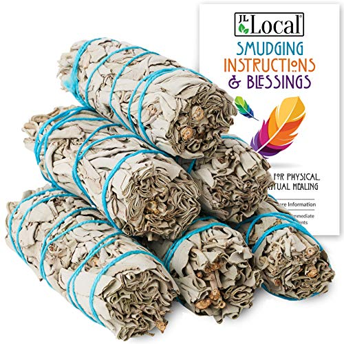 """JL Local 6 Pack White Sage Smudge Sticks 4"""" Inch Smudging Wands 