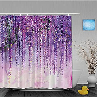 Art Printing Decor Collection Spring Landscape Purple Floral Bathroom Shower Curtains Mildew And Fade Resistant Waterproof Polyester Fabric 72 x66 Inch