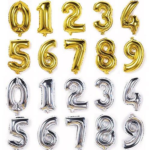 誕生日 飾り付け 飾り 数字 風船 ナンバー バルーン 大きい 70㎝ 1歳 プレゼント (ゴールド, 3)