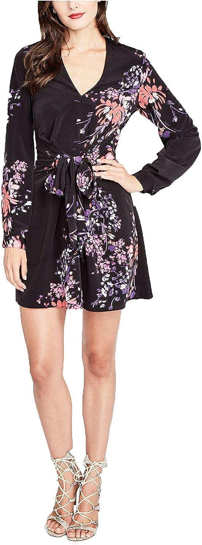 Rachel Roy Womens Long Sleeve Floral Wrap Dress