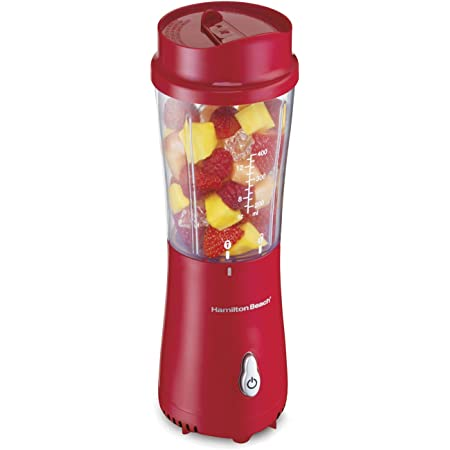 Hamilton Beach Personal Blender for Shakes and Smoothies with 14 Oz Travel Cup and Lid, Red (51101RV)