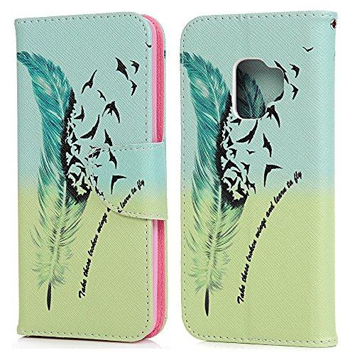 tophung Samsung Galaxy S9Book Case, Premium PU Leder Flip Wallet Case mit Magnetverschluss ID Kreditkarte Slots Halter Cash Pocket Protector Bumper Case für Samsung Galaxy S9 birds
