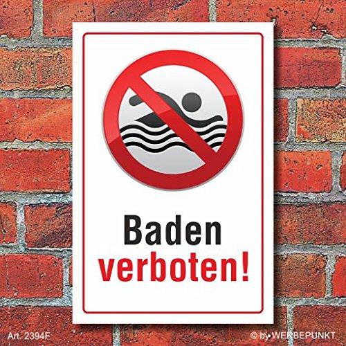 Schild Baden verboten, Piktogramm, 3 mm Alu-Verbund 600 x 400 mm