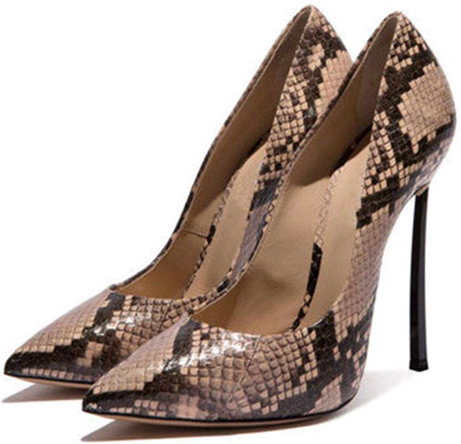 Women's Snake Print Large Size Shallow Sexy Thin High Heels
