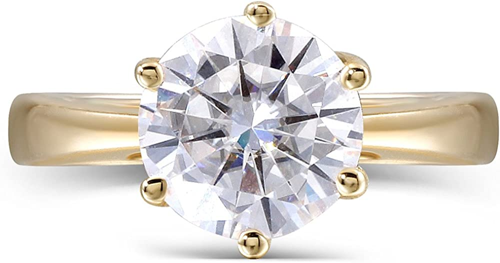 DovEggs Solid 14K Yellow Gold 2ct 8MM G-H-I Color 2.8MM Width Heart Arrows Cut Moissanite Engagement Ring for Women