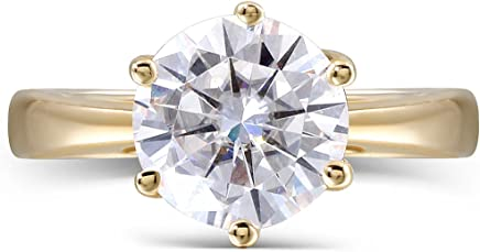 TransGems 14K Yellow Gold 2ct 8MM H Color 2.8MM Width Round Moissanite Simulated Diamond Engagement Ring for Women (7.5)