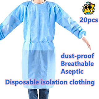 (20PCS) Disposable Gown,Protective Suit,Isolation gowns,Disposable isolation clothing.size: universal.Color: Blue and green are shipped randomly.