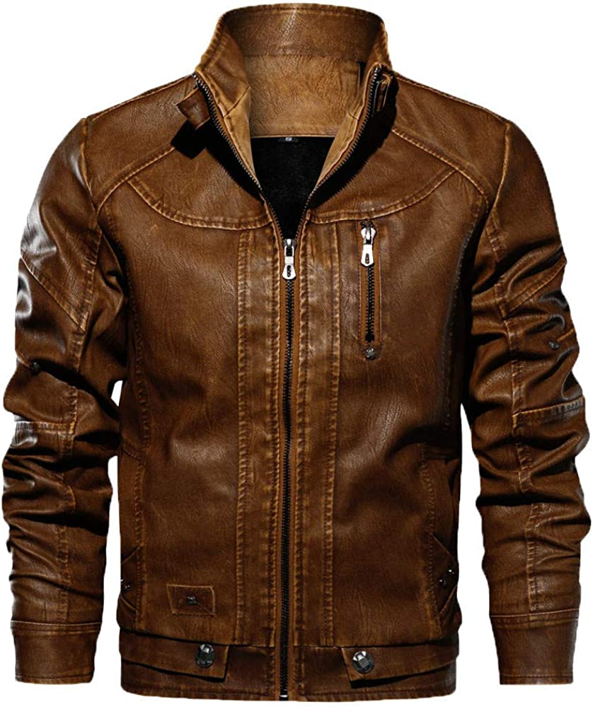 Men Leather Motorcycle Jacket Winter Warm Coat Tactical Outwear Breathable Tops KLGDA
