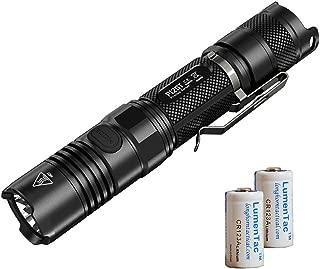 Nitecore Bundle: 3 Items P12GT 1000 Lumens Compact Tactical LED Flashlight, 2 x LumenTac CR123A Batteries