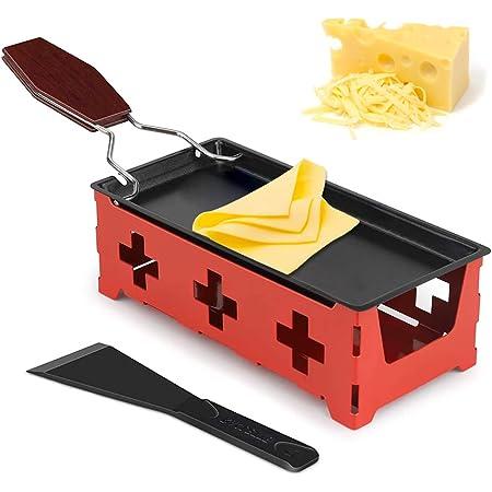 Mini Gril au Fromage, Mini Raclette Set, Set à Raclette Portable, Machine à raclette Portable avec spatule et poignée Pliable, Faite Fondre Votre Fromage Rapidement (Rouge)