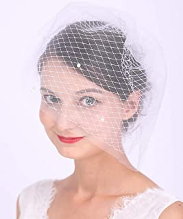 Aimimier Bridal Veil with Crystal Pearl Comb White Double Layer Birdcage Veil for Wedding (White)