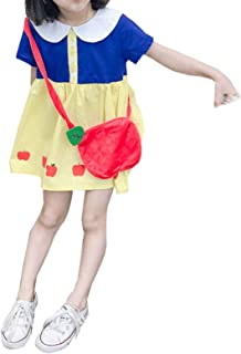 Elonglin Baby Girls Cute Princess Dress Party Ruffle Cotton Dress Doll Collar Short Sleeves with Shoulder Bag