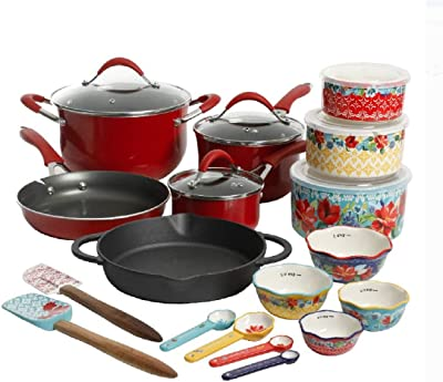The Pioneer Woman Speckled Cookware 24 Pc Cookware Pots Pans Enameled Aluminum Non Stick (Red)