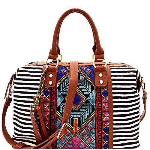 Boho Tassel Leaf Charm Aztec & Stripe Print Canvas Satchel Tote Handbag Purse (Embroidered Satchel - Black)