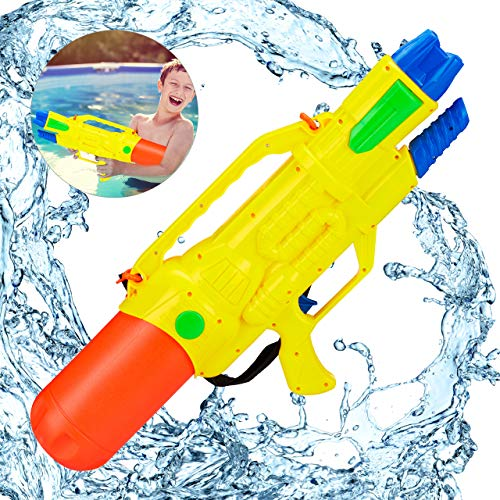 Relaxdays Wasserpistole, 1,8 Liter Wassertank, 10 Meter Reichweite, zum Pumpen, Kinder & Erwachsene, Spritzpistole, bunt