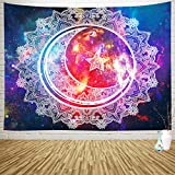 Sylfairy Tapestry Wall Hanging Boho Mandala Tapestry Psychedelic Tapestry Celestial Starry Sky Moon Wall Tapestry Art Home Decoration for Bedroom Living Room Dorm 59' X 51'(Mandala)
