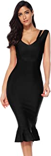 Meilun Womens Rayon Halter Fishtail Bandage Party Dress