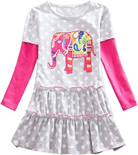 REYO Toddler Girls Long Sleeve Elephant Dot Print Patchwork Ruched Party Waistcoat Princess Dress 3-7Years