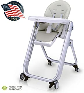 Baby Feeding High Chair Seat - Space Saving Baby Toddler Booster Eating High Chair w/Wheels, Backrest, Footrest, Height Adjustment, Seat Cushion, Safety Belt, Detachable Food Tray - SereneLife SLHC62