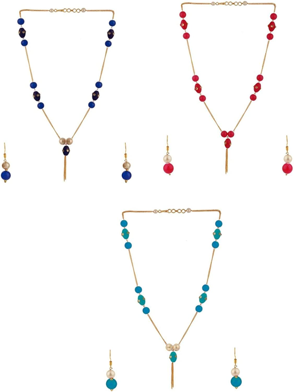 Efulgenz Pearl Chain Necklace Indian 14 K Gold Plated Red Faux Ruby Beads Strand Fashion Costume Jewelry