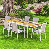 Scaramuzza Modo Set Tavolo Allungabile e 6 Poltrone per Esterno Colore Bianco e Teakwood Alluminio da Giardino Terrazzo Patio