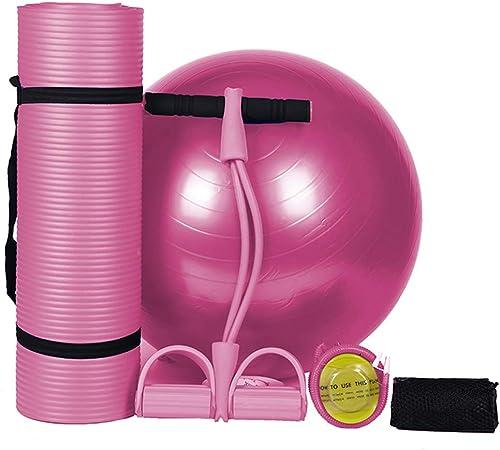 CWDXD Tapis de Yoga,Fitness pour Gym Ensemble de 3 pièces de Yoga pour la santé et Le Fitness - Comprend 1 Tapis d'exercice NBR Ultra épais, 1 Balle de Yoga, 1 extracteur à 2 brins,rose