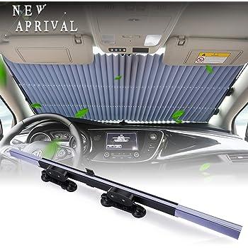 Fangteke Tenda Retrattile per Auto Parabrezza Anteriore con Protezione UV Accessori per Visiera Parasole per Autoveicoli