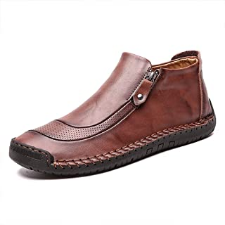 JEBU Men's Leather Driving Oxford Chelsea Boot Hand Zipper Non-Slip Loafers Casual Shoes