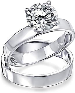 Bling Jewelry 2CT Cubic Zirconia Solitario Pianura Fascia Piana AAA CZ Impegno Anello di Nozze Insieme per Donne Argento 925