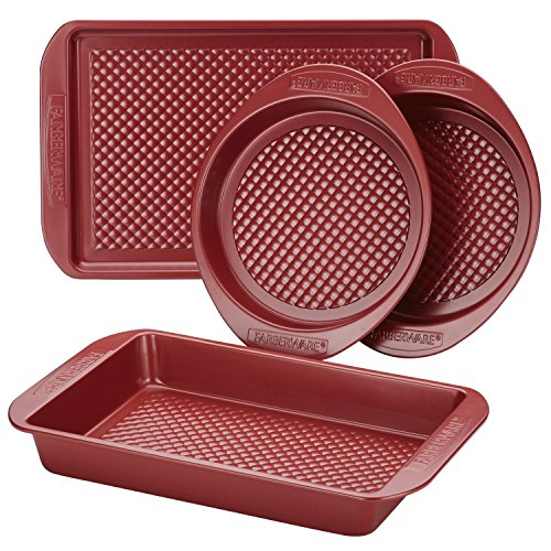 Farberware Nonstick Bakeware Set with Nonstick Cookie Sheet / Baking Sheet, Baking Pan and Cake Pans - 4 Piece, Red