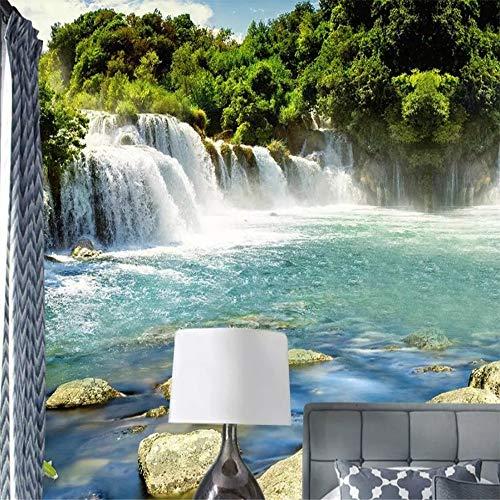 ZYLBDNB Kunst Wandgemälde, Benutzerdefinierte Wallpaper 3D Fototapete Schöne Wasser Fließenden Wasserfall Bildschirm Hintergrundbild 3D Wandbild,360X280CM