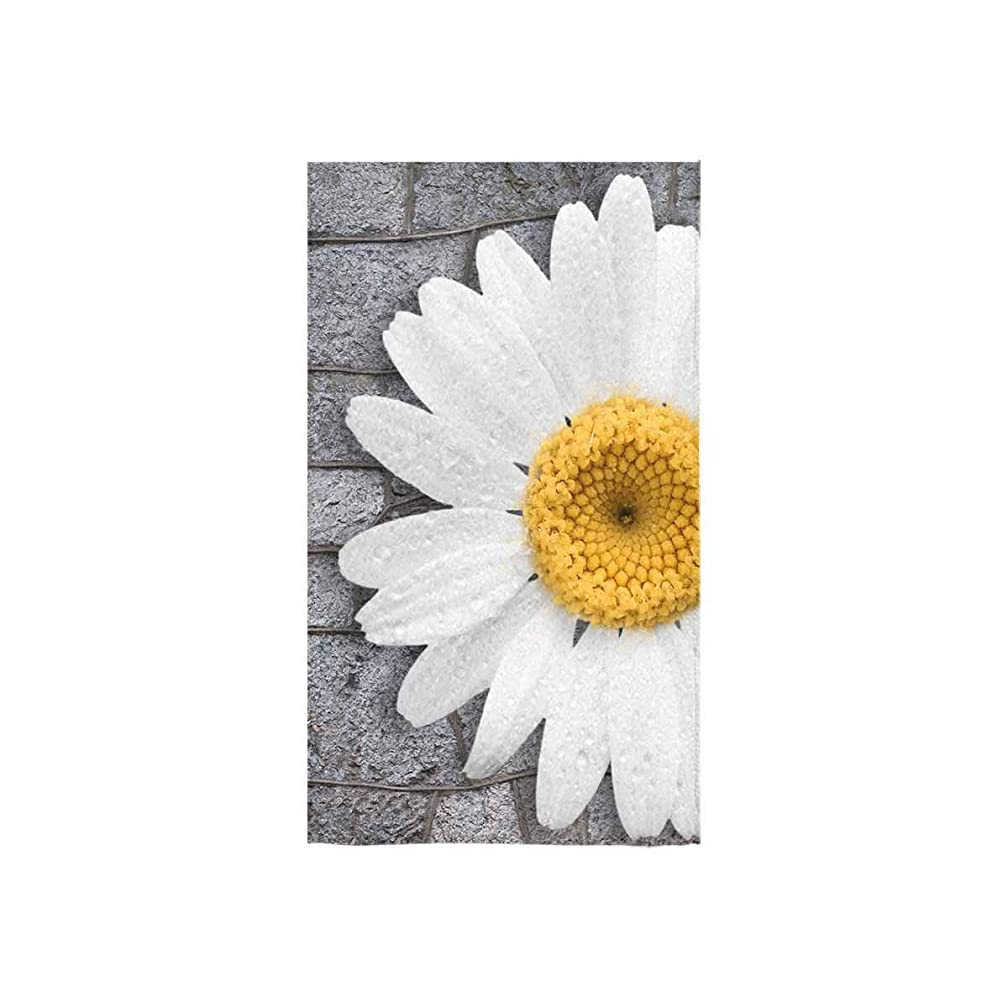 InterestPrint White Daisy Flower with Leaves Absorbent Large Hand/Sports Towels Cleaning Towels Beach Towel for Hotel Spa Salon Gym Bathroom, 16x28 Inch