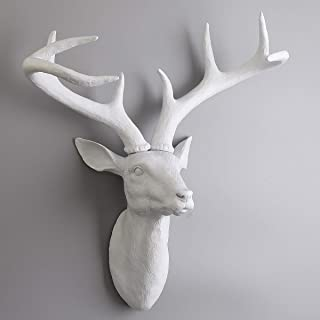 Oteshina Kiwarm Diy Resin White Stage Deer Head Antlers Animal Sculpture 3d Figurines Ornament Model Wall - Sculpture Miniatures Wallpaper Plastic Ornament 3d Punch Wall Head Wall